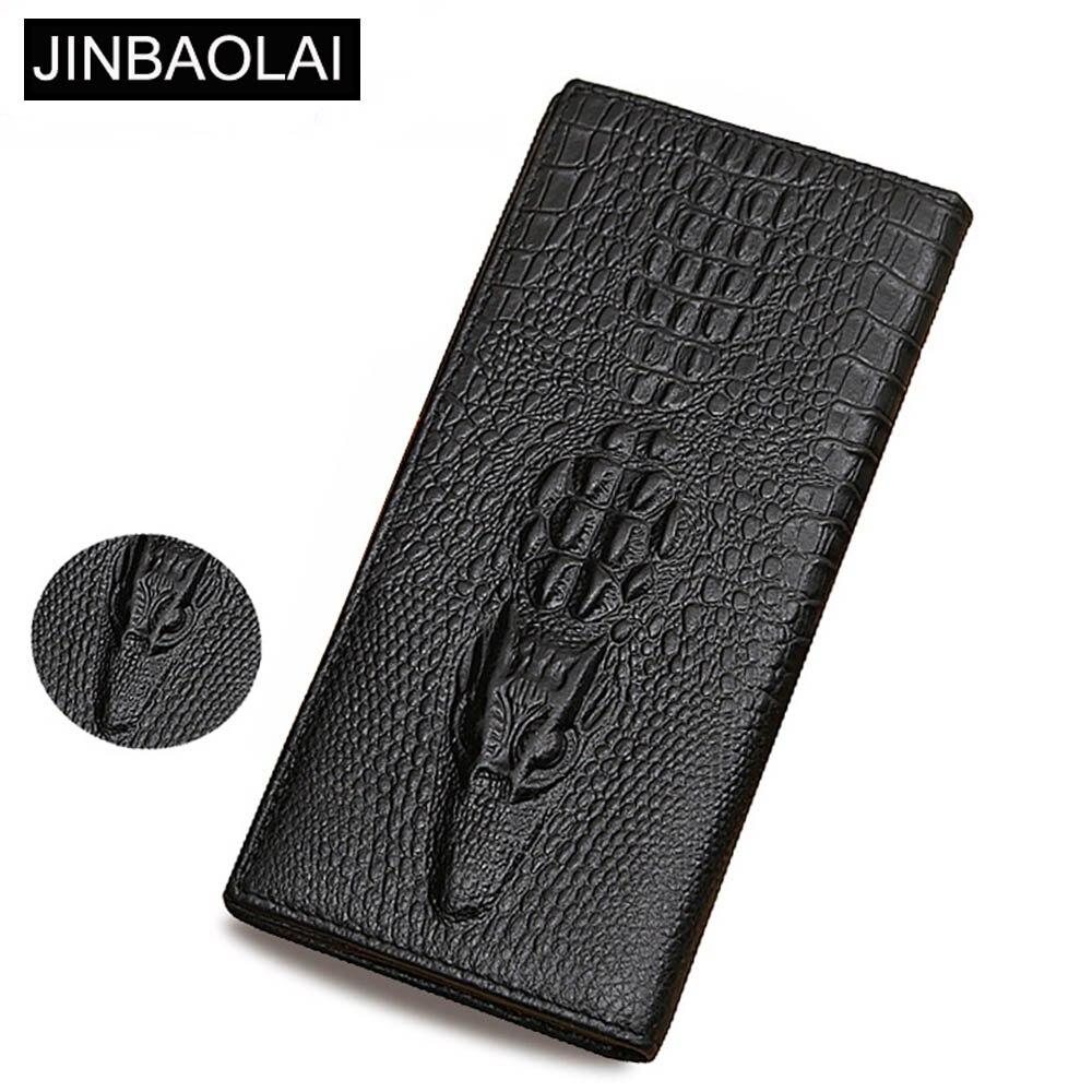 JINBAOLAI Genuine Cow Leather Long Men Wallet Europe Zipper Pocket Card Holde Male Purse Crocodile Coin Pocket Fold Men Wallet