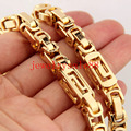 6/8mm Wide Yellow Gold Tone Byzantine Box Link Chain Cool Men's Stainless Steel Bracelet/Necklace Jewelry 7-40inch Free Choose