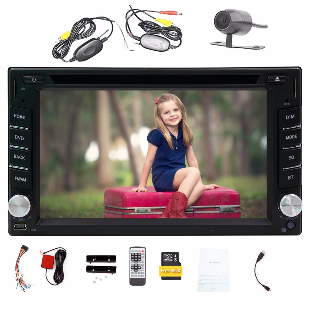 Rear Camera 6.2'' 2 Din Car DVD Player HD Digital Touch Screen Car Stereo GPS Navigation Bluetooth Car Radio Audio Video Player 6 2 2 din universal car stereo audio radio dvd usb sd player hd multimedia bluetooth touch screen backup rear camera monitor