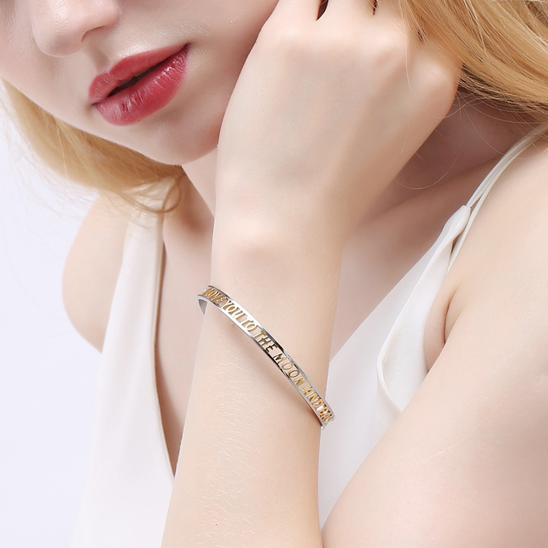 I LOVE YOU TO THE MOON Bracelet Hollow Letters Women Open Cuff Bracelet Bangle Stainless Steel Jewelry Gifts Gold Metal Bracelet in Bangles from Jewelry Accessories