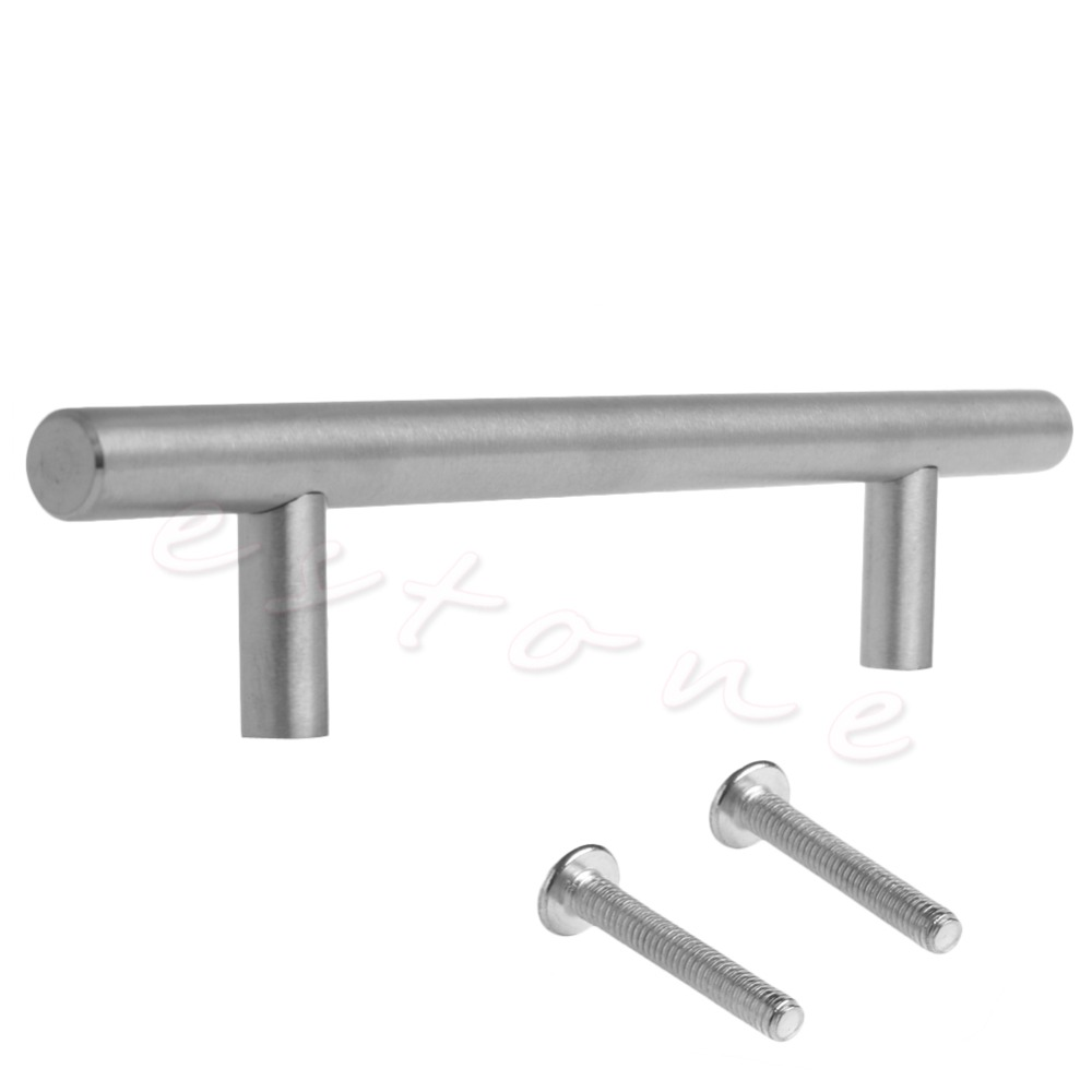1Pc 12mm Stainless Steel T bar Kitchen Cabinet Door Handles Drawer Pull Knobs 2pcs set stainless steel 90 degree self closing cabinet closet door hinges home roomfurniture hardware accessories supply