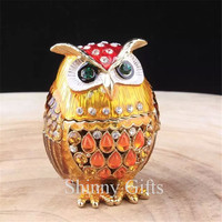 Hand Painted Owl Trinket Box with Rich Enamel and Sparkling Rhinestones Jewelry Trinket Box