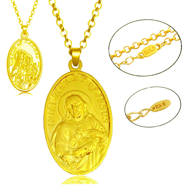 Vintage Jesus Abbildung Anhänger Halskette Jungfrau Maria Gold farbe ...