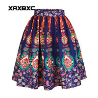 XAXBXC 005 Fashion Floral Pattern National 3D Prints Summer Sexy Girl Princess Bubble Skirt Skater Pleated
