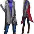 2016 новая мода с длинным рукавом открыть стежка осень траншеи пальто пыли для женщин женщина пальто и пиджаки причинно асимметричная длинные сексуальные