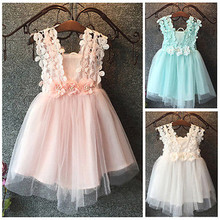 Emmababy High Quality Girl Dress Elegant Cute Baby Sleeveless Princess Floral Lace Tulle Mini Ball Gown Formal Party