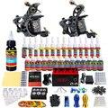 Solong Tattoo Kits Completos Pro 2 Artesanal Máquina de Tatuagem Bobina armas Poder Pé Abastecimento Pedal Agulha Apertos Ponta Conjunto De Tintas TKB02-CN
