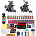 Solong Tattoo Kits Completos Pro 2 Hecho A Mano Máquina de Tatuaje de la Bobina pistolas Power Supply Foot Pedal Agujas Tip Tinta Grips Set TKB02-CN