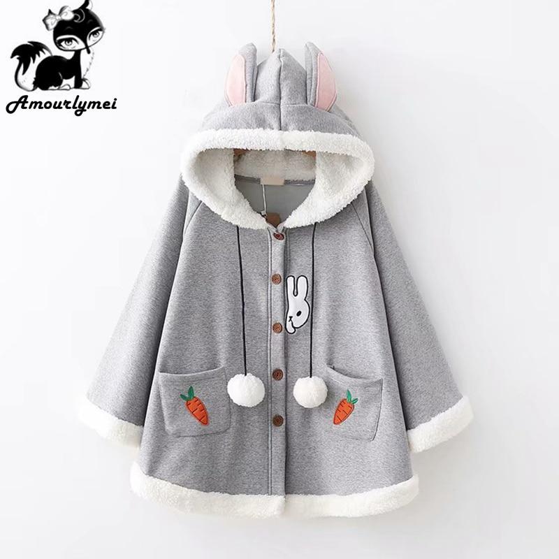 Winter Jacket Women Coat Japanese Mori Girl Cute Cartoon Rabbit Ear Loose Hooded Cape Coat Cotton Casual Warm Cloak Outerwear