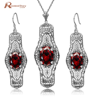 Ethiopian Jewelry Set 925 Sterling Silver Zircon Bijoux Cute Red Stone Crystal Wedding Accessories Party Ring For Women Female