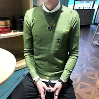 2018 Winter New Round Neck Embroidery Sweater Thickening Fashion Trend Knitting Youth Men Unique Style Hedging