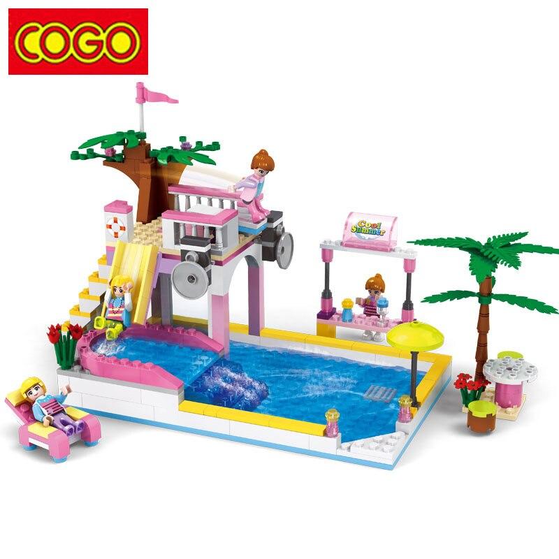 COGO бассейн модель строительные блоки, совместимые Legoe город сборки девушки игрушка образования DIY Кирпичи игрушки для Детский подарок