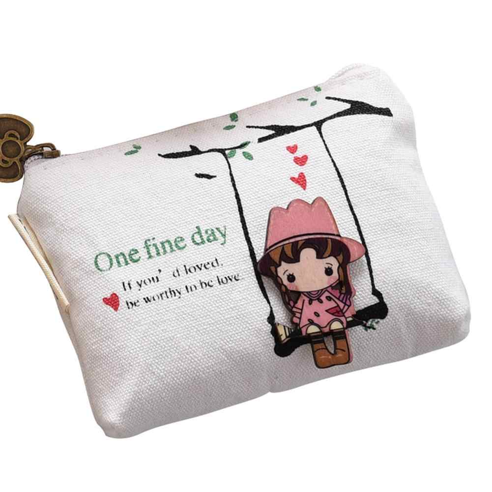 105bb4783bd Women Cartoon Swing Girl Canvas Mini Coin Purse Keys Holder Purse Clutch  Bag Wallet bolsos mickey mujer mini purse women wallet