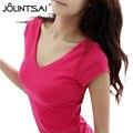 Moda S-XXL Verão Casual T Shirt Mulheres Tops Plus Size Preto branco Rosa Vermelha Feminino Curto-Luva t-camisa 2015 Nova 3.14-1