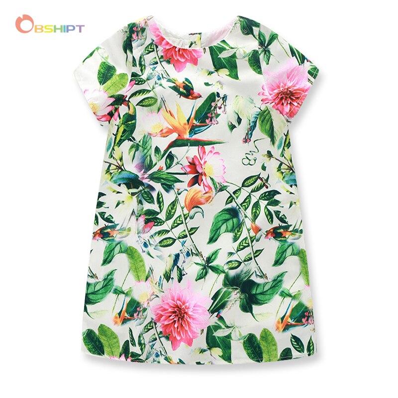 №Flor imprimir Niñas vestido verano estilo verde bebé niños casual ...