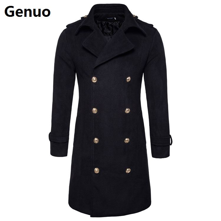 Genuo Wool Coat Jackets Slim-Fit Autumn Winter Men's Double-Breasted Outerwear Male Couple