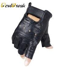 Новинка, стильные мужские перчатки из овечьей кожи для вождения, Перчатки для фитнеса, тактические перчатки с полупальцами, черные перчатки Guantes Luva