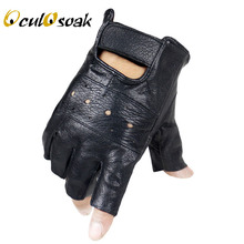 2019 New Style Mens Sheep Leather Driving Gloves Fitness Half Finger Tactical Black Guantes Luva