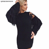 Qbale Women Knitted Sweater Dress England Style Ostrich Feathers Patchwork Lantern Sleeve High Waist O Neck