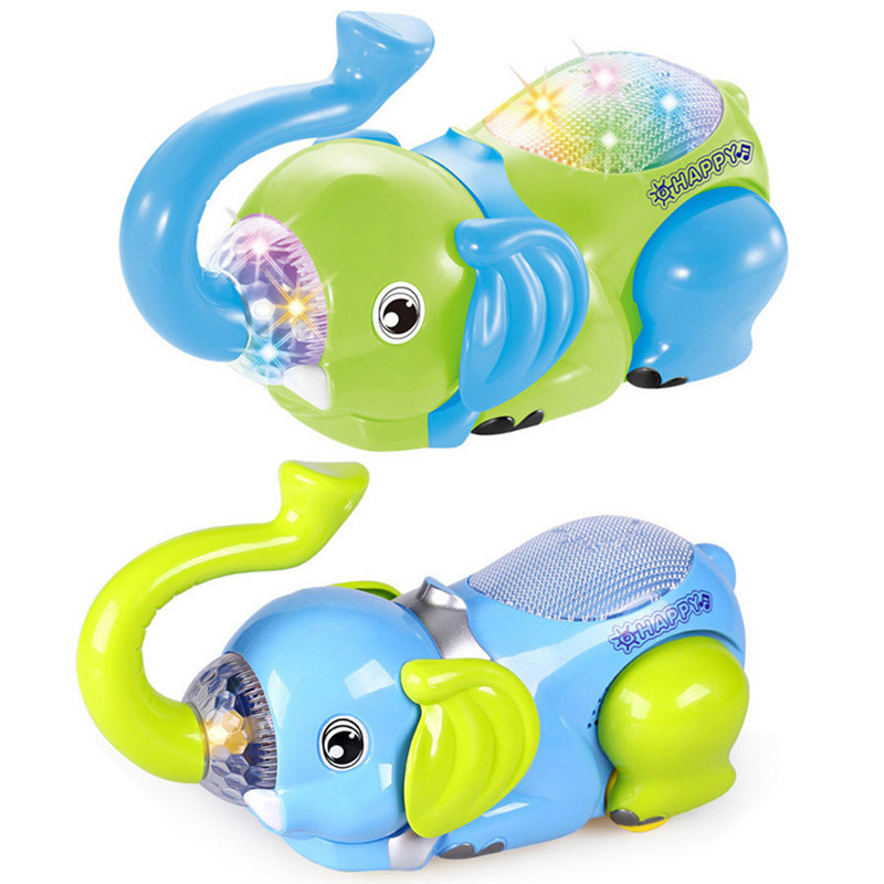 Baby Electric Toy Cartoon Evert Elephant Universal Wheel Children Light Toys Kids Early Education Puzzle Toy Birthday Gift