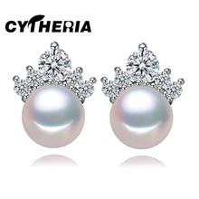 CYTHERIA d'eau douce Naturelle Perle boucles d'oreilles réel véritable charme Perle bijoux, 2016 nouveau pic couronne Perle boucles d'oreilles, 8-9mm perle