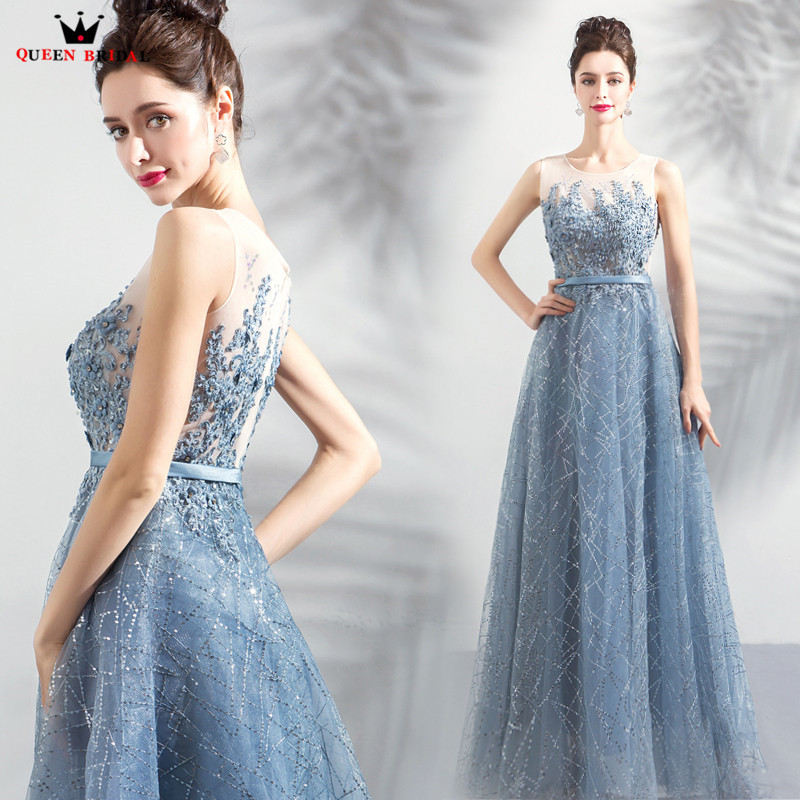 A line Sequin Tulle Lace Crystal Beaded Long Formal Blue Evening Dresses 2018 New Arrival Evening