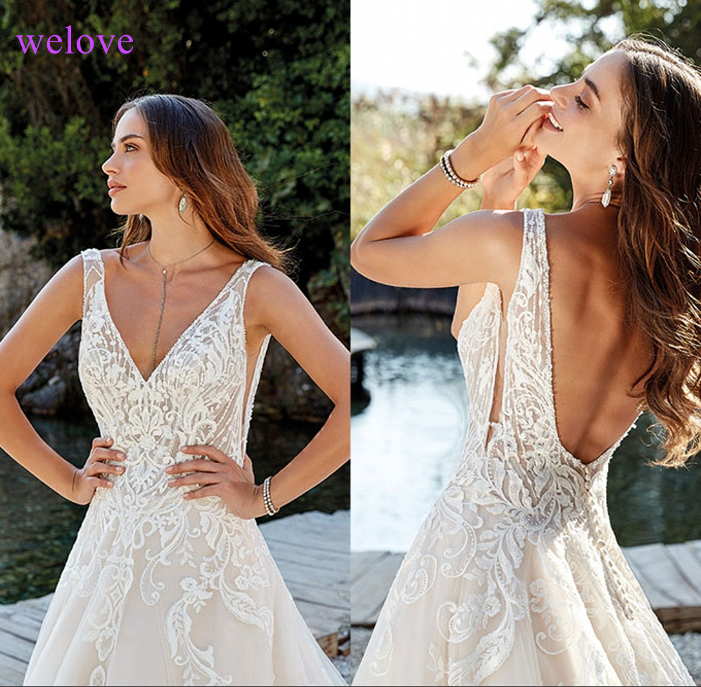 Robe De Mariee New Arrival 2019 New Summer Beach Wedding Dress With Straps White Open Back Wedding Dresses Vestige De Noiva
