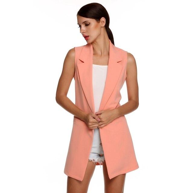 Для женщин куртка без рукавов длинный кардиган Blaser Feminino Рабочая костюм шикарный жилет блейзер сплошной Цвет женский Для женщин одноцветное Пальто для будущих мам верхняя одежда