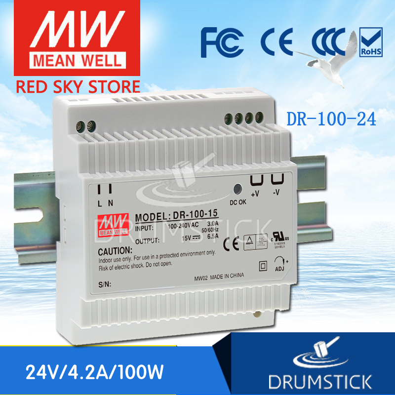 MEAN WELL DR-100-24 24V 4.2A meanwell DR-100 100.8W Single Output Industrial DIN Rail Power Supply цена