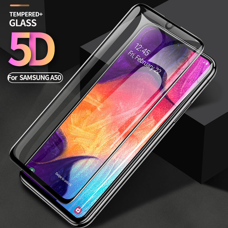 5D Protective Glass For Samsung Galaxy A30 A50 A70 Full Cover Screen Protector For Samsung A20 M30 M20 Oleophobic Tempered Glass