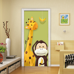DIY remont wodoodporne 3d Cartoon żyrafa małpa obraz na płótnie nowoczesne drukuj Decor samoprzylepne dla dzieci naklejki drzwi pokoju sztuki
