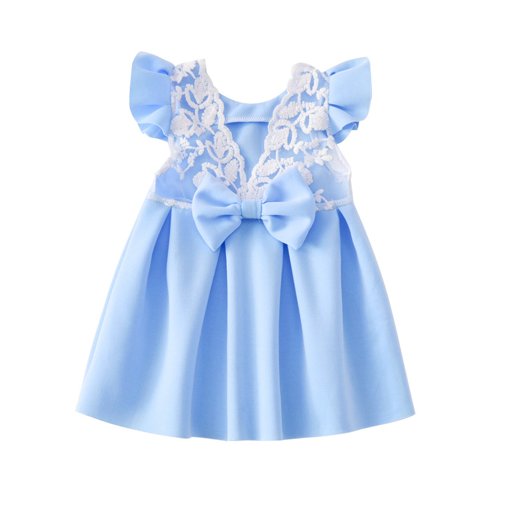 2018 New Kids Girls Dress Summer Fly Sleeve Sundress Solid Baby Children Clothes Princess Party Dresses -17