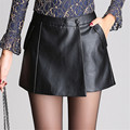 Hot Sale PU Leather Shorts Skirts Women Autumn Black Slim Hip Pencil Vintage OL Mini Shorts Skirt Sexy Clubwear Plus Size DYF274