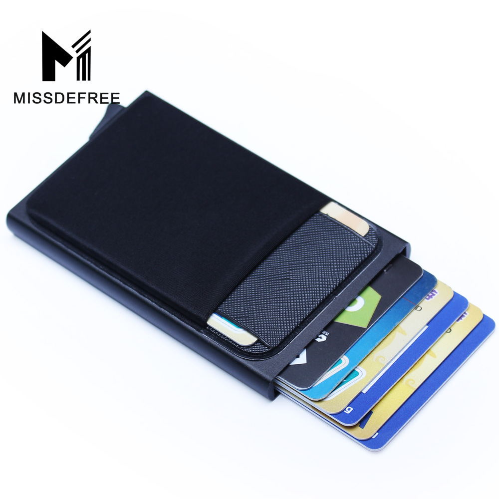 Aluminum Wallet With Back Pocket ID Card Holder RFID Blocking Mini Slim Metal Wallet Automatic Pop up Credit Card Coin Purse