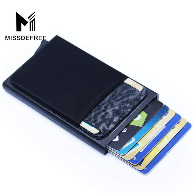 bd97f474f076 US $6.85 44% OFF|Aluminum Wallet With Back Pocket ID Card Holder RFID  Blocking Mini Slim Metal Wallet Automatic Pop up Credit Card Coin Purse-in  ...