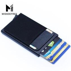 Carteira de alumínio com bolso traseiro id titular do cartão rfid bloqueio mini fino metal carteira pop up automático cartão de crédito moeda bolsa