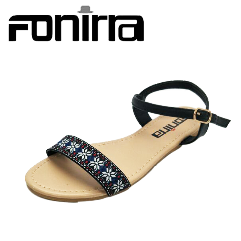 FONIRRA Women Sandals Chinese Style Embroider Summer Shoes for Women's Gladiator Flats Sandals Casual Beach Sandals Shoes 558 phyanic 2017 gladiator sandals gold silver shoes woman summer platform wedges glitters creepers casual women shoes phy3323