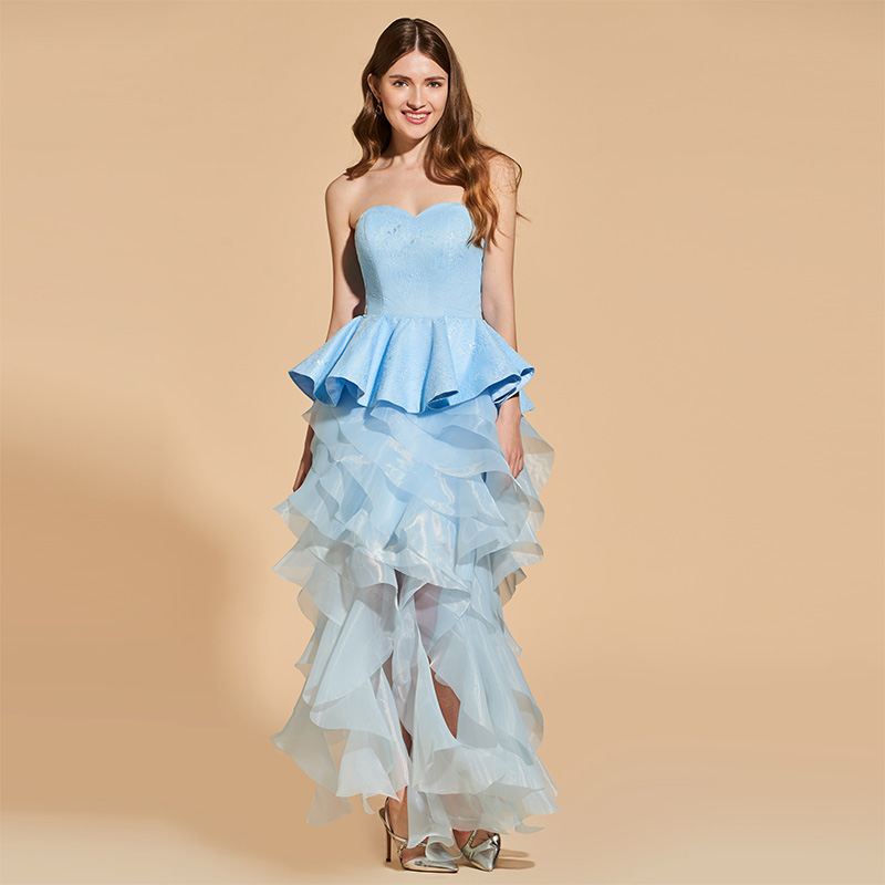 Tanpell Ruffles Cocktail Dress Blue Lace Sleeveless Tea Length Sheath Gown Women Party Formal Custom Sweetheart Cocktail Dresses