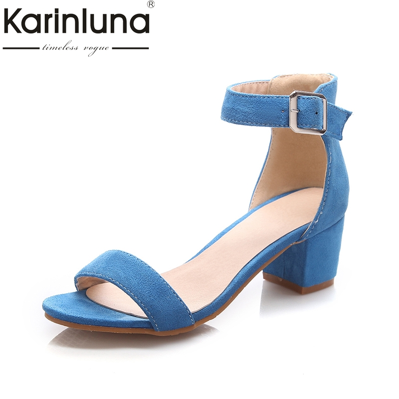 KARINLUNA Big Size 33-43 Concise OL ankle-strap Summer Sandals Shoes Woman Fashion High Heels Date Sandal Women