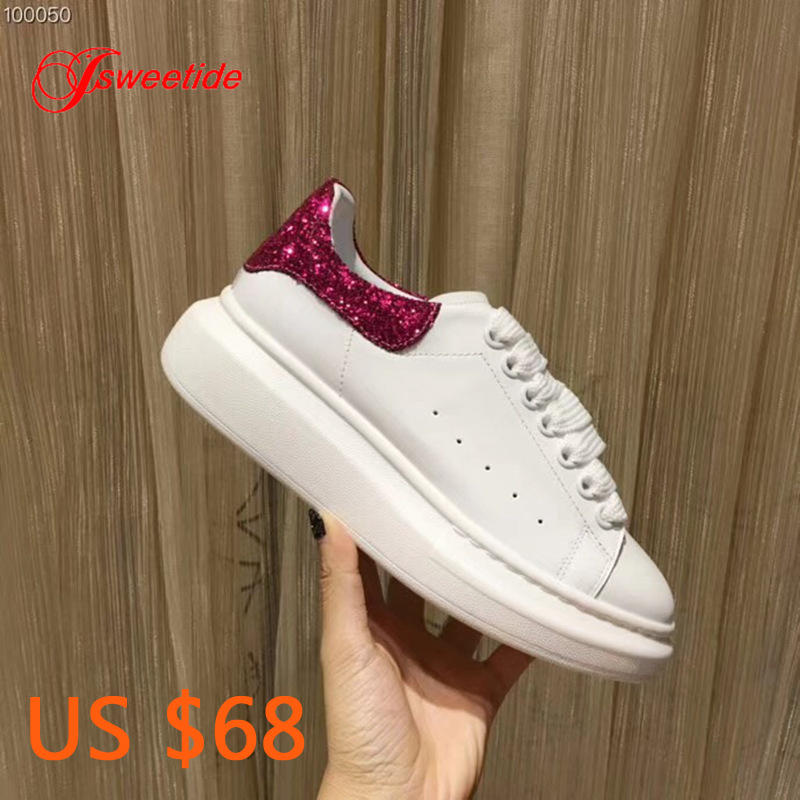 Genuine Leather High Quality Flat Platform Women shoes Casual Sneakers Luxury Designer Brand paillette Tail Spring