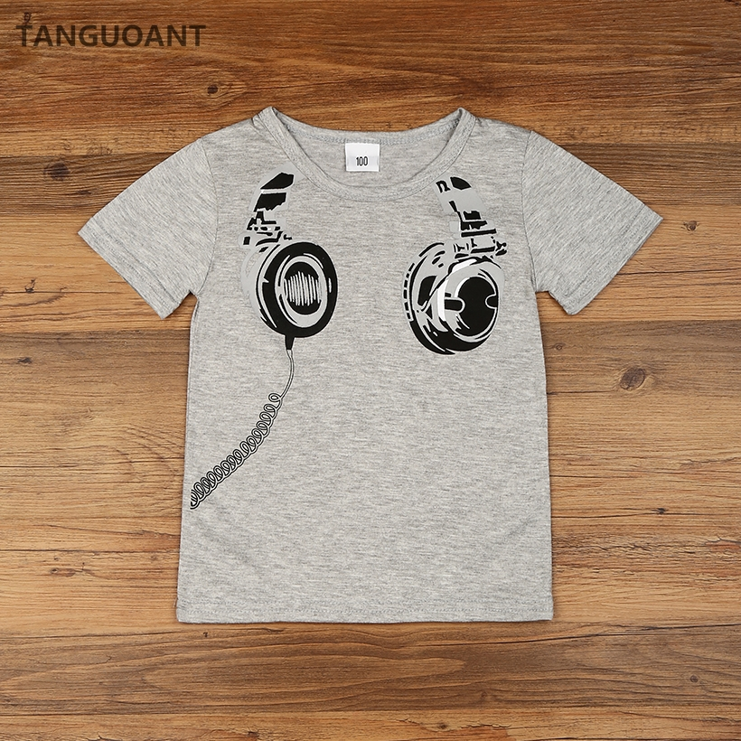 Tanguoant hot sale kids cartoon headset printed tops new for Toddler t shirt printing