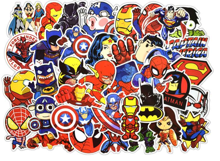 QSU 50 Pcs Cute Waterproof Super Hero Stickers For MARVEL DC Graffiti Sticker For Skateboard Luggage Laptop Notebook Guitar Car
