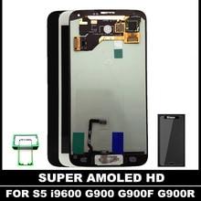 Высокое качество Тесты Super AMOLED ЖК-дисплей S для Samsung Galaxy S5 I9600 G900 G900F ЖК-дисплей Дисплей Сенсорный экран Ассамблея Главная Кнопка Стикеры