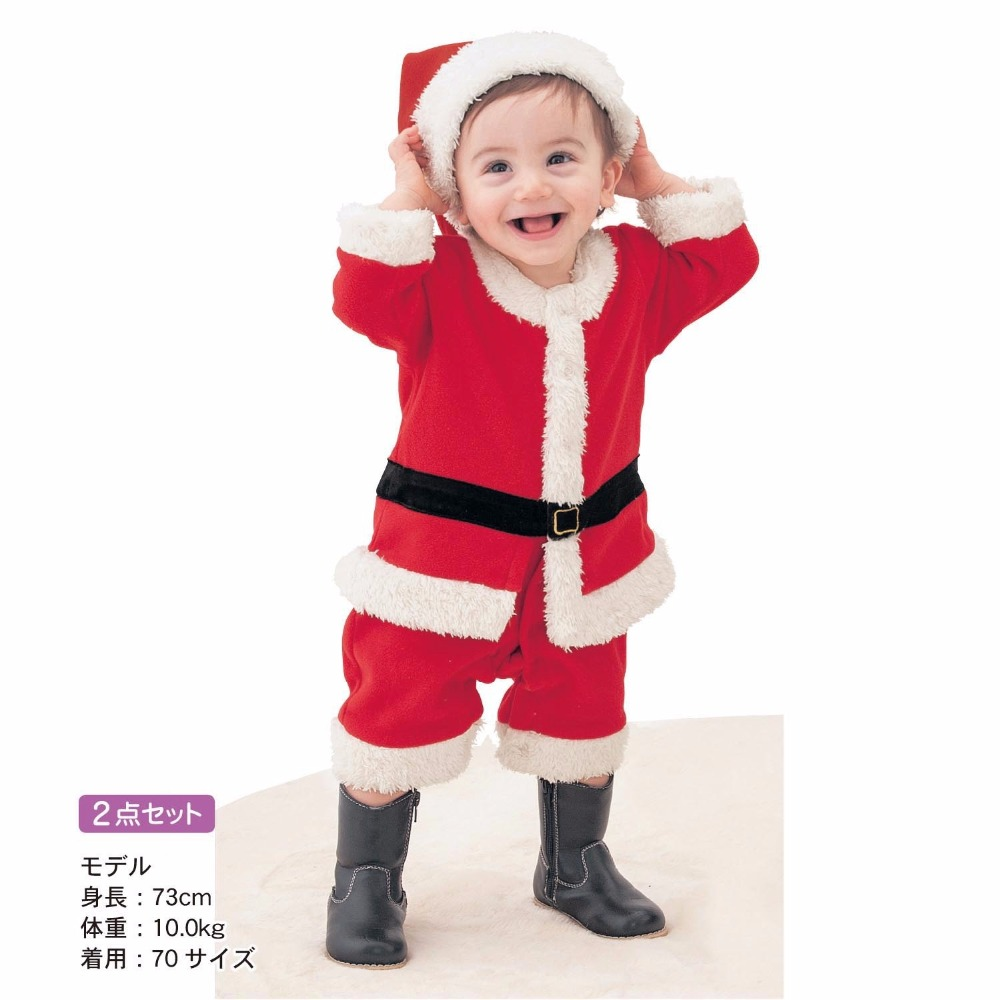Fashion red christmas pajamas for infants santa claus baby costume