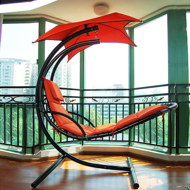 Hanging Chaise Lounger Chair Air Arc Stand Swing Hammock Canopy Steel Porch  US