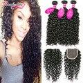 7A Brazilian Water Wave Virgin Hair 3 Bundles With Closure Curly Brazilian Virgin Hair With Closure Brazilian Hair Weave Bundles