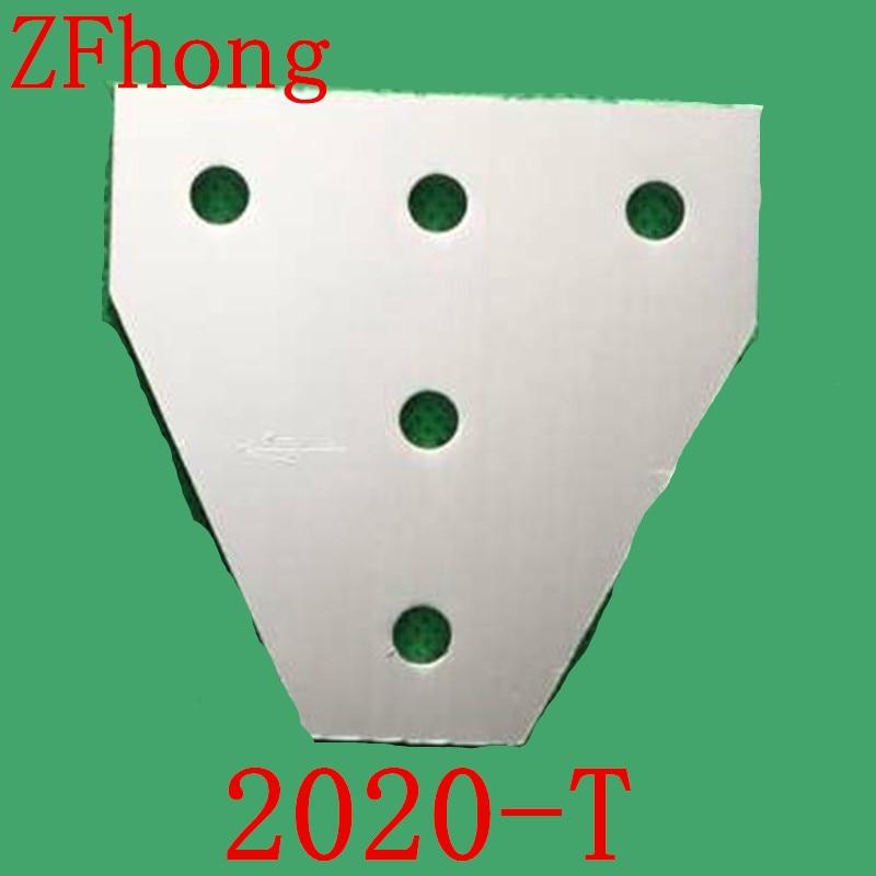 все цены на 5pcs 2020 T type  5 Hole 90 Degree Joint Board Plate Corner Angle Bracket Connection Joint Strip for Aluminum Profile онлайн