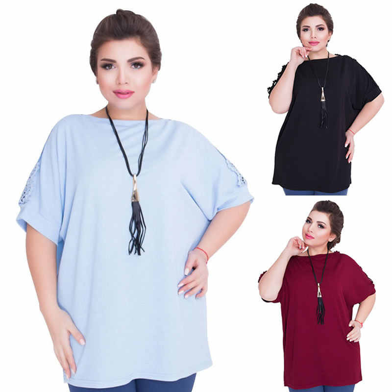 631305cae8f 2018 Plus Size L-6XL Fat MM Women Fashion Office Uniforms Ladies Short  Casual Solid Party O-Neck Lace Tees 3 Colours JTZBT1110