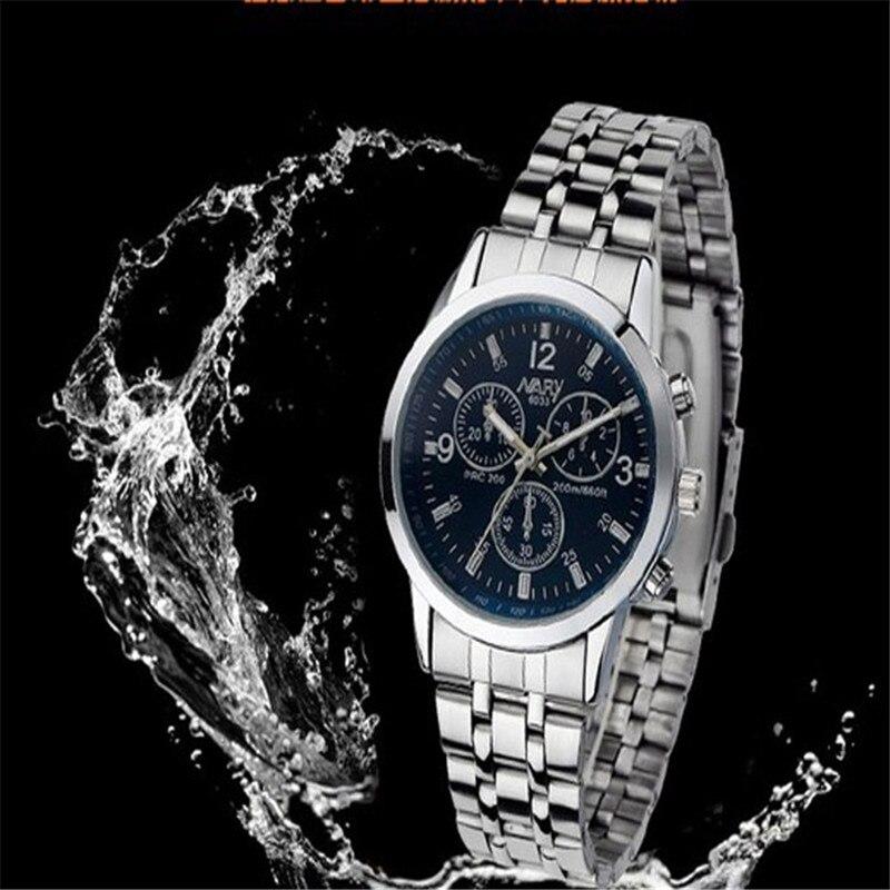 2017 Luxury Fashion Men Watches 1PC Luxury Waterproof Stainless Steel Quartz Women Wrist Watch Jewelry blue shope#3005