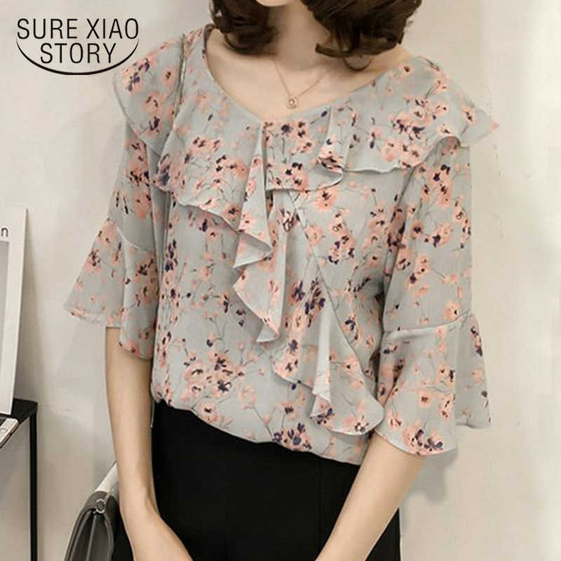 0ea991a459b Новый 2018 Летняя мода шифон Для женщин рубашки блузка плюс Размеры  Цветочный Половина рукава женский Костюмы
